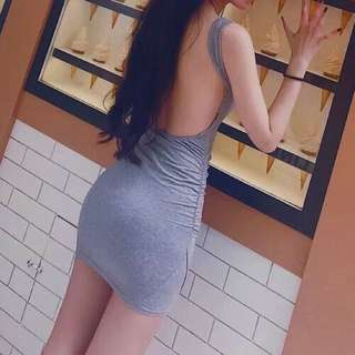 Backless grey dress