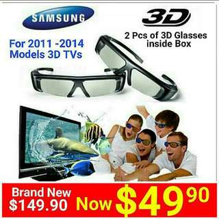SAMSUNG 3D TV Glasses (A Box Set Of  2 Pcs) for Selected Models Of Samsung 3D TV Produced In Year 2011- 2014 (Chk TV Listing Below) Model SSG-3100GB. (Brand New in box & Sealed) UP: $149.90 Special Offer: $49.90