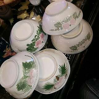 5 Pcs Chinese Vintage Bowls HandPainted