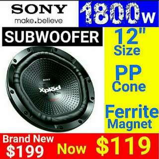 "SONY CAR Subwoofer  - SONY 12""/ 30cm 1800 watts Peak Power with Dimpled polypropylene Cone  Usual Price: $199 Special.offer: $119. (Brand new in box & Sealed). Whatsapp 85992490  to collect  today."