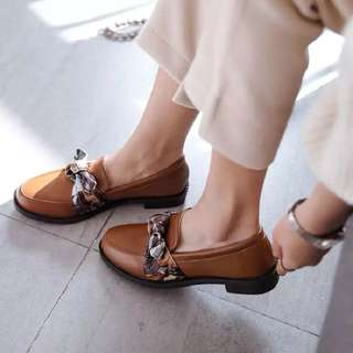 Square shallow mouth shoes female fashion bow rough with low heel shoes