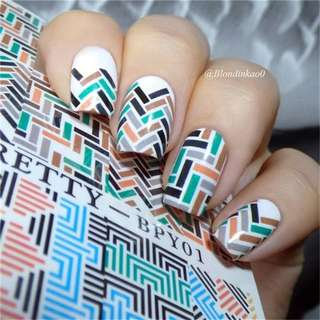 1 Sheet BORN PRETTY Nail Sticker Water Decals Fret Checked Nail Transfer Sticker Chic Pattern Nail Water DecalsBPY01