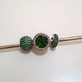 Pandora inspired sterling silver 925 green tone charm beads set