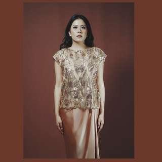Sequin gold top baju pesta Nuna
