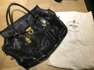 Prada Big Flat Tote Bag - Cervo Shine (Black) / Prada 女裝手袋