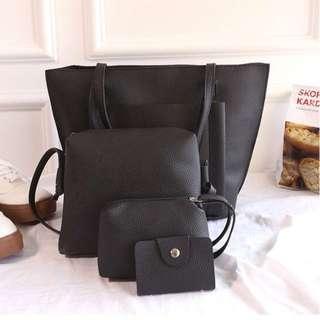 Black PU leather bucket tote bag