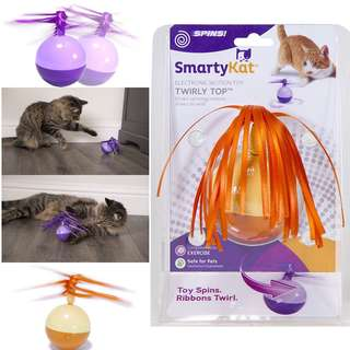 BN SmartyKat Twirly Top Electronic Motion Cat Toy, Purple, Yellow