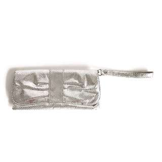 Silver Clutch with Wristlet and Silver Chain Straps