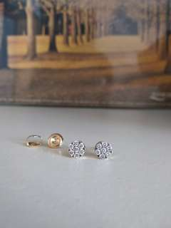 14k白金黃金33份鑽石耳環 diamond gold earrings