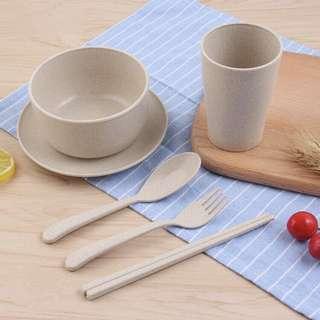 Eco-friendly Wheat 6 Pc Kids Dining Set