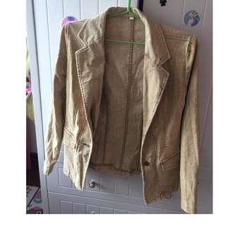 Woman beige gorduroy jacket