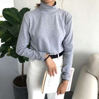 #803 harajuku minimalist turtleneck long sleeve mock neck top