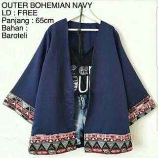 Outer Cardigan Atasan Baju Atasan Baju Muslim Bohemia Navy