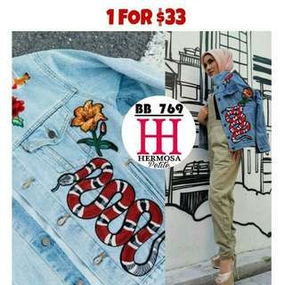 JC7699 EMBROIDED DENIM JACKET  - Inspired By GUCCI