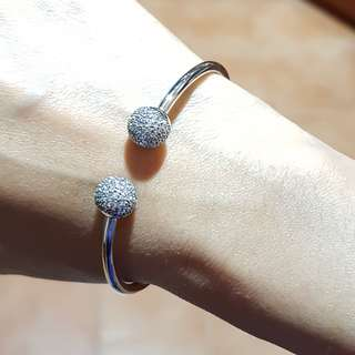 Pandora inspired sterling silver 925 open stone pave caps bangle
