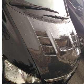 Honda Civic FD Real CF Carbon Fiber Bonnet Ings Style