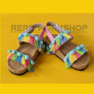 #MAKINtebel sandal anak renda model birkenstock alas full bungkus serat kayu