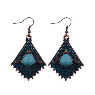 Colorful Glazed Stone Vintage Silver Rhombic Shaped Tribal Earrings
