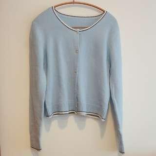🚚 柔軟舒適貝殼扣粉藍色超彈性開衫