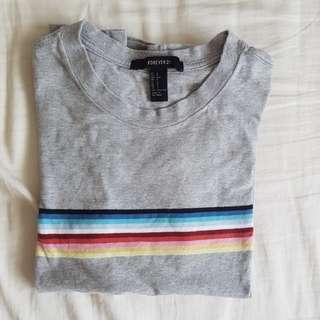 f21 grey rainbow striped shirt