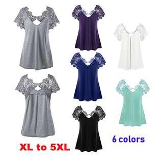 💯 Plus Size Cutwork Lace Trim T-Shirt (6 available colors)