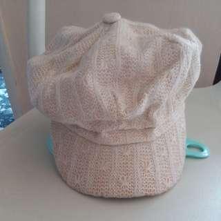包運 全新米色線織cap帽👩🎨