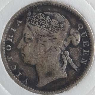 STRAITS SETTLEMENTS 10 cents Queen Victoria 1894 silver coin (with capsule)