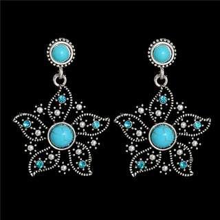 Blue Austrian Crystal Bauhinia Flower Vintage Jewelry Natural Stone