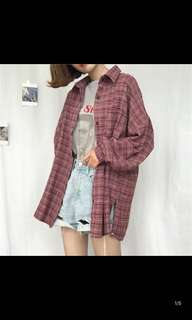 Ulzzang Red Checkered flannel