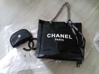 Chanel vip gift big size chain bag set 網紗袋 銀色