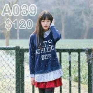A039(娃娃風/假兩件)衛衣假兩件