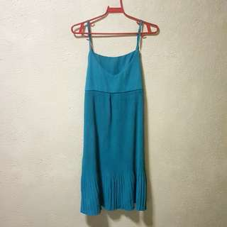 Teal Pleat Dress