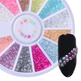 2mm 300pcs Nail Art Stickers Studs Pretty Colorful Half Pearls Nail Art Decoration Nail Tools 1 Box Nail Decoration Wheel