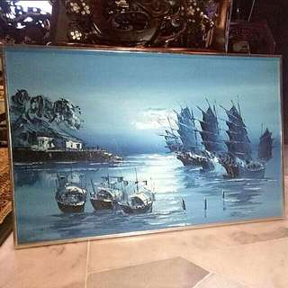 Chinese Vintage Oil Painting  For Feng Shui