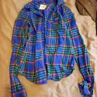 🚚 Hollister 藍色薄呢襯衫xs
