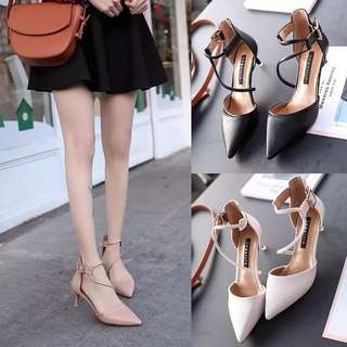 Pointed high heels female buckle Baotou hollow Roman sandals summer new women's singles shoes