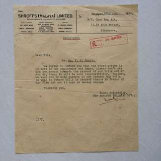 Vintage Old Document - Old Registered letter dated in Year 1956