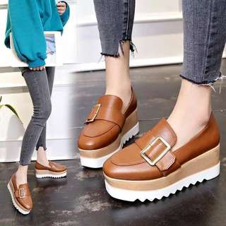 British style black casual shoes slope with wild ladies fashion Korean tide sponge cake shoes