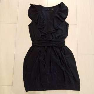 NEW Original H&M Black Dress Ruffle size 36