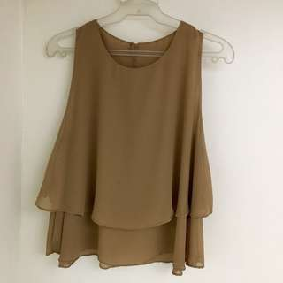 Brown/beige chiffon sleeveless top