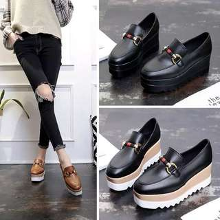 Casual shoes, women's bottom British style black casual shoes slope with the wild ladies fashion Korean tide sponge cake shoes