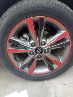 Hyundai Elantra 16 inch rims black carbon fibre stickers