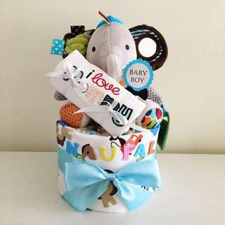 Mini Diaper Cake 1-Tier with Animal Friends Toy for New Born Baby / Baby Shower Hamper