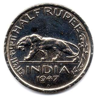 India 1947 1/2 Rupee King Emperor George VI & Majestic Tiger Coin -- 00126