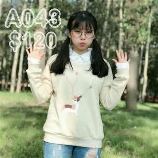 A043(娃娃風/假兩件)小鹿印花衛衣假兩件