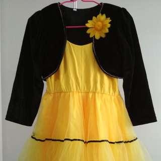 (A3) Kid's Yellow Party Dress Set