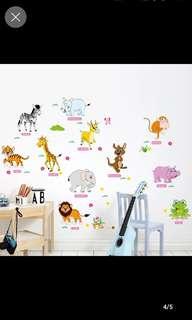 Simple decoration farewell monotonous children's room,Kindergarten DIY wall stickers decoration children bedroom baby room Cute cartoon animal early education wall stickers/ Home Decor