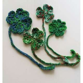Handmade Crochet Luckly 3 & 4 Leaf Cover Bookmark