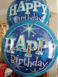 Happy Birthday blue sparkle foil balloon