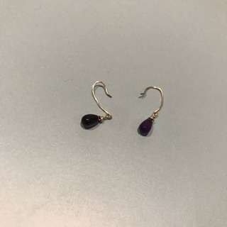Dark Purple Dangling Earrings